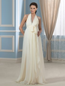 Ericdress Casual V Neck Backless Maternity Wedding Dress