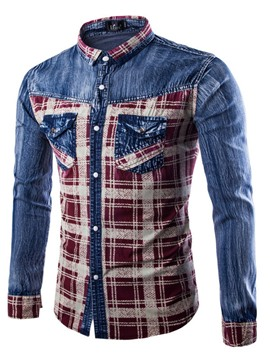Ericdress Color Block Plaid Long Sleeve Slim Men's Denim Shirt