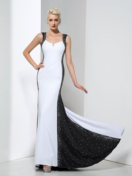 Ericdress Sheath Straps Beading Backless Evening Dress