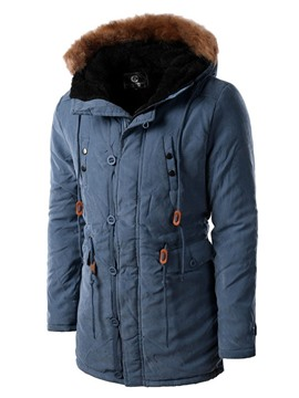 Ericdress Cotton Blend Flocking Thicken Long Men's Parka Coat