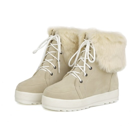 Ericdress Sweet Furry Lace-up Ankle Boots
