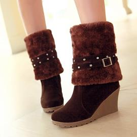 Ericdress Delicate Rhinestone Wedge Ankle Boots