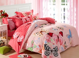 Ericdress Butterfly Flying 4-Piece Cotton Bedding Sets