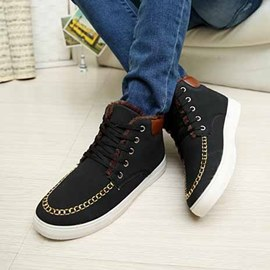 Ericdress Solid Color Lace-Up Front Flat Heel Men's Sneakers