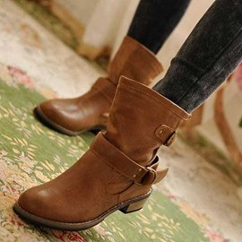 Fashionable PU Upper Flat Boots with Buckle