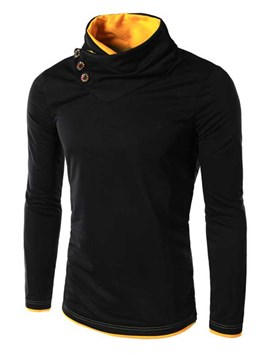 Ericdress Plain Turtle Neck Buttons Decorated Men's Hoodie
