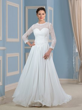 Ericdress Elegant Jewel A Line Long Sleeves Wedding Dress