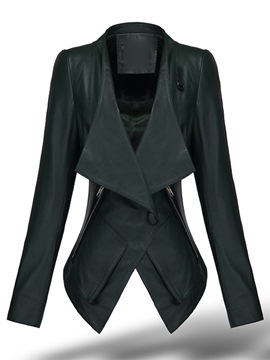 PU Lapel One-Button Jacket