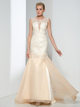 Ericdress Sheath Round Neck Appliques Evening Dress