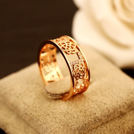 Ericdress Vogue Letter Rose Zircon Ring