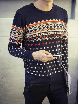 Ericdress Pullover Jacquard Pattern Decorated Warm Men's Sweater