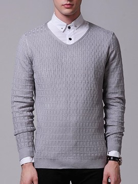Ericdress Plain V-Neck Warm Vogue Men's Sweater