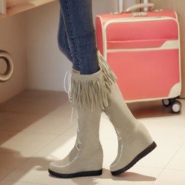 Ericdress Popular Fringe Wedge Knee High Boots