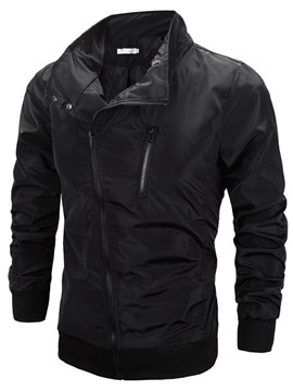 Ericdress Plain Full Zip Slim Men's Jacket Casual