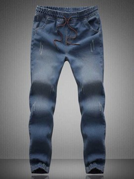Ericdress Denim Stretch Lace-Up Waist Casual Men's Pencil Pants