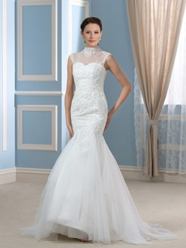 Ericdress Fancy High Neck Appliques Mermaid Wedding Dress