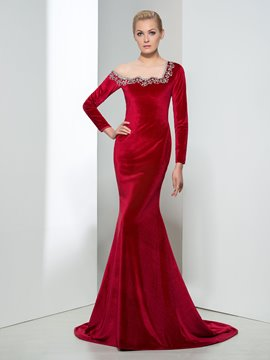 Ericdress Long Sleeve Sheer Neck Beading Evening Dress