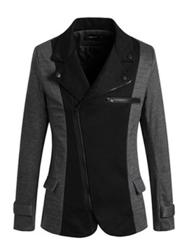 Ericdress Color Block Slim Top Quality Zip Men's Blazer