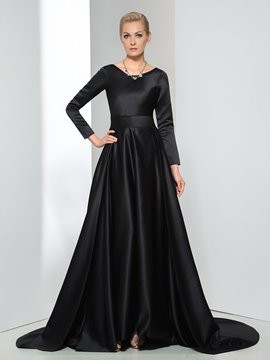 Ericdress Long Sleeves Bowknot Chapel Train Evening Dress