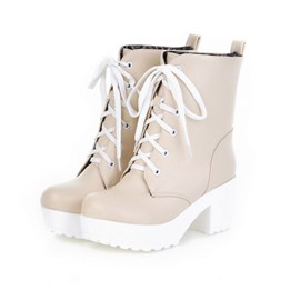 Ericdress Lace-up Chunky Heel Ankle Boots