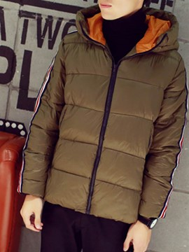 Ericdress Hooded Zip Thicken Warm Men's Cotton Coat