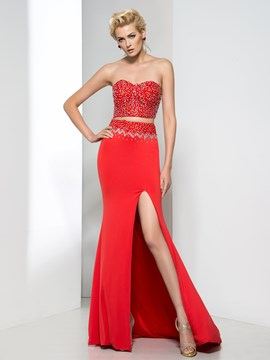 Ericdress Sweetheart Beaded Split-Front Two-Piece Evening Dress