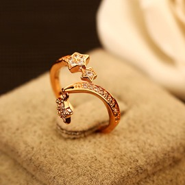 Ericdress Micropave Star Zircon Ring