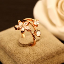 Ericdress Luxury Flower Zircon Ring