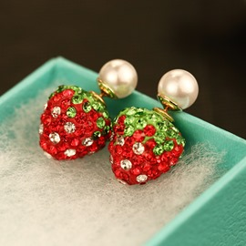 Ericdress Colorful Strawberry Pearl Earrings