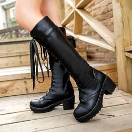 Ericdress Chic Lace-up Knee High Boots