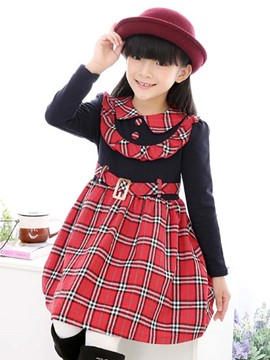 Ericdress Plaid Peter Pan Collar Girls Dress