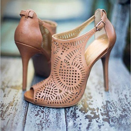Ericdress Hollow Out Peep Toe Stiletto Sandals