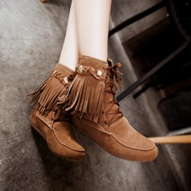 Ericdress Retro Fringe Ankle Boots
