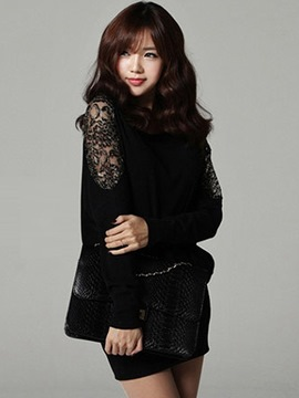 Ericdress Black Batwing Sleeve Lace Patchwork Casual Dress