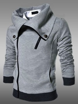 Ericdress Plus Size Plain Lapel Zipper Men's Hoodie