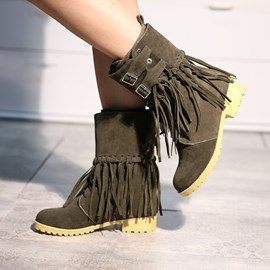 Ericdress Cool Fringe Ankle Boots with Buckles