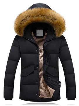Ericdress Thicken Warm Zip Hooded with Fur Men's Cotton Coat
