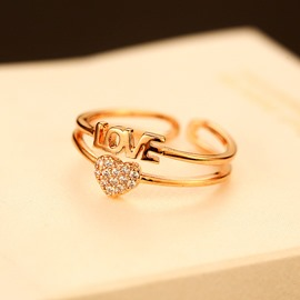 Ericdress Queen Style Diamond Heart Ring