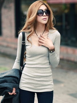 Ericdress Slim Plain Round Neck T-Shirt