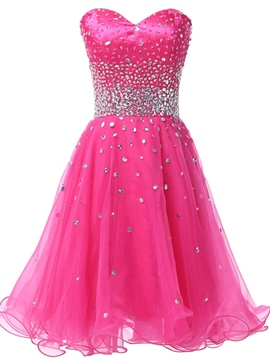 Ericdress Sweetheart Beading Ruffles Cocktail Dress