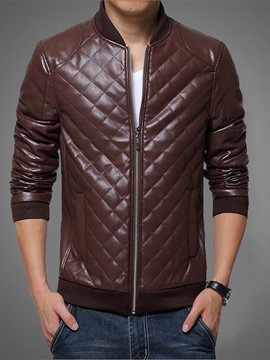 Ericdress Vogue Slim Zip PU Men's Jacket