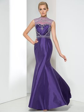 Ericdress High Neck Beading Backless Evening Dress