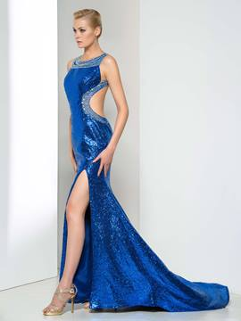 Ericdress Side-Split Sequins Open Back Evening Dress