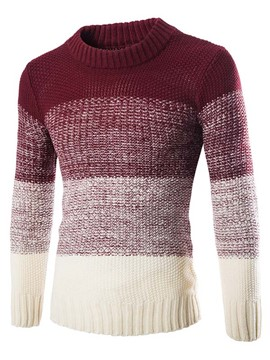 Ericdress Color Block Crewneck Warm Men's Sweater