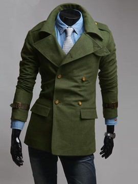 Ericdress Solid Color Double-Breasted Men's Wool Coat