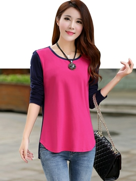 Ericdress Asymmetric Color Block T-shirt