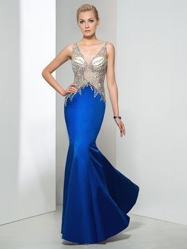 Ericdress Mermaid V-Neck Beading Backless Evening Dress