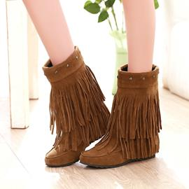 Ericdress Fringe Flat Boots with Rivets
