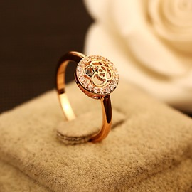 Ericdress Hollow Flower Diamond Ring