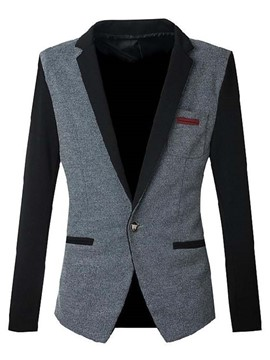 Ericdress Color Block Slim Vogue Men's Blazer